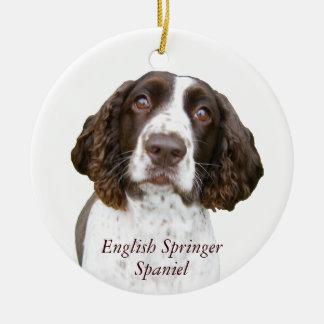 Ornamento lindo del navidad del perro de aguas de adorno navideño redondo de cerámica
