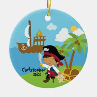 Ornamento lindo del navidad del pirata del adorno navideño redondo de cerámica
