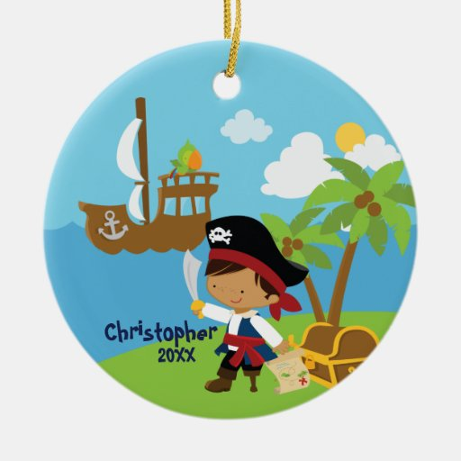 Ornamento lindo del navidad del pirata del adorno redondo de cerámica
