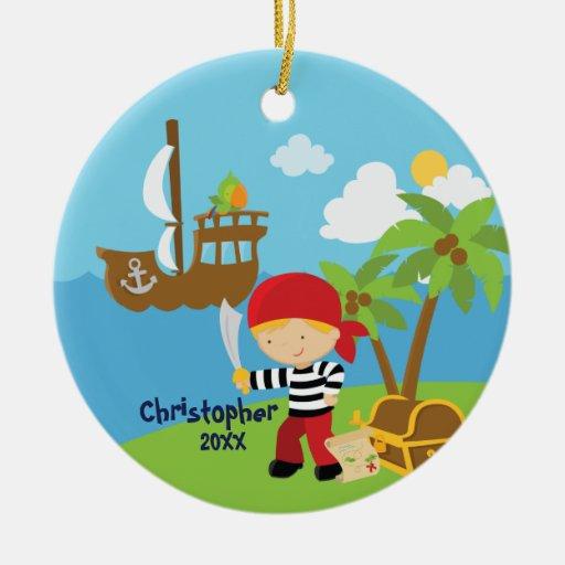 Ornamento lindo del navidad del pirata del muchach adornos