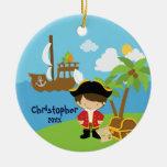 Ornamento lindo del navidad del pirata del muchach adorno