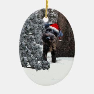Ornamento lindo del navidad del Schnauzer miniatur Adorno De Navidad