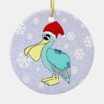 Ornamento lindo del pelícano de Santa Ornamento De Navidad