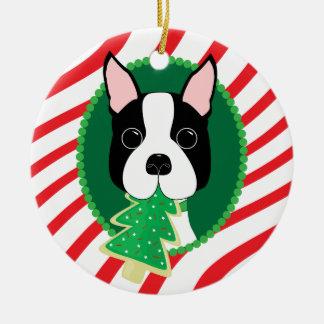 Ornamento lindo del perro de Boston Terrier Adornos De Navidad