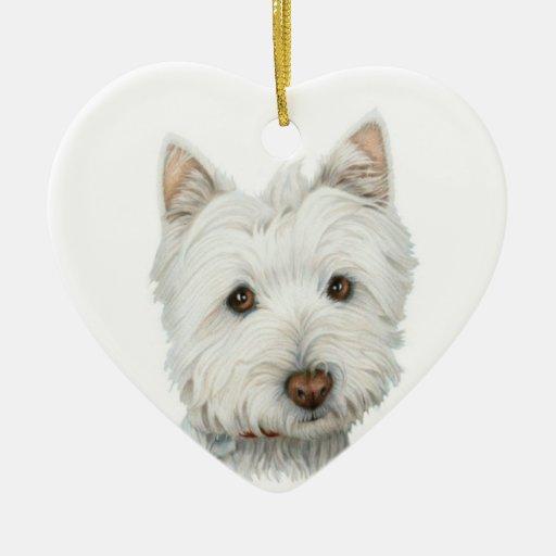 Ornamento lindo del perro de Westie Adorno Para Reyes