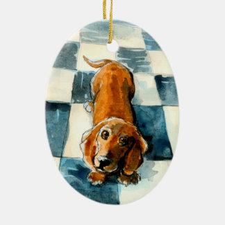 Ornamento lindo del perro del Dachshund Adorno Navideño Ovalado De Cerámica