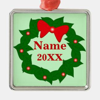 Ornamento lindo personalizado de la guirnalda del adorno navideño cuadrado de metal