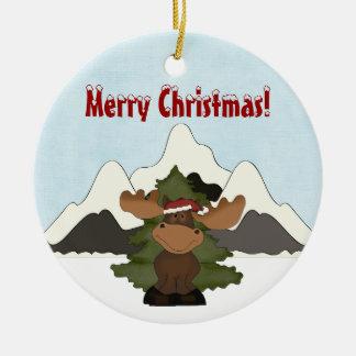 Ornamento lindo personalizado de la montaña de los adorno navideño redondo de cerámica