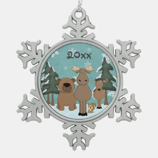 Ornamento lindo personalizado de los animales del adorno de peltre en forma de copo de nieve