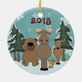 Ornamento lindo personalizado de los animales del adorno navideño redondo de cerámica