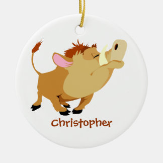 Ornamento lindo personalizado del warthog adorno redondo de cerámica