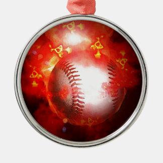 Ornamento llameante rojo del árbol de navidad del adorno navideño redondo de metal