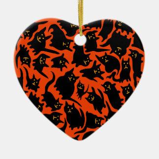 Ornamento loco de los gatos de Halloween (corazón) Ornamento Para Reyes Magos