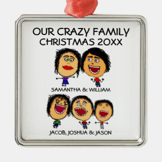 Ornamento loco de tres hijos adorno navideño cuadrado de metal