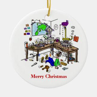 Ornamento loco del navidad de Radio Shack del Adorno Navideño Redondo De Cerámica