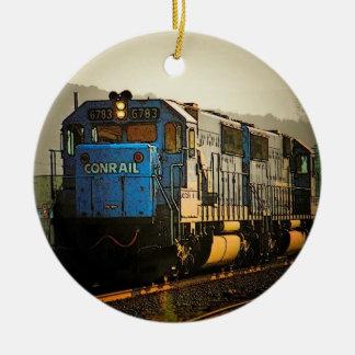 Ornamento locomotor adorno navideño redondo de cerámica