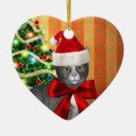 Ornamento mágico del gato de Santa del navidad Adorno De Cerámica En Forma De Corazón