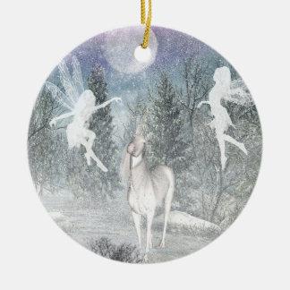 Ornamento mágico del navidad de Fae del unicornio Adorno Navideño Redondo De Cerámica