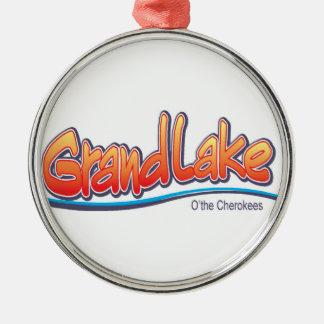 Ornamento magnífico de la autorización del lago adorno navideño redondo de metal