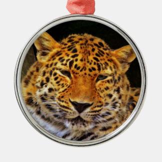 Ornamento majestuoso del leopardo adorno redondo plateado
