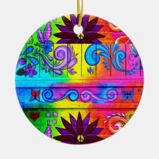 ornamento maravilloso del hippie de los años 70 adorno navideño redondo de cerámica