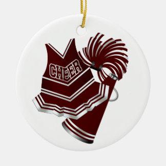 Ornamento marrón y blanco de encargo de la adorno navideño redondo de cerámica