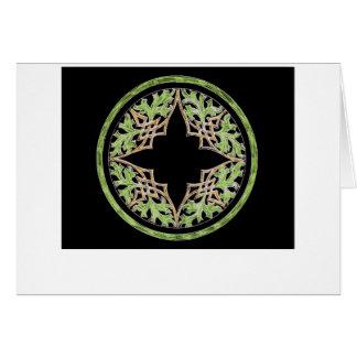 Ornamento marrón y verde reclinado felicitaciones