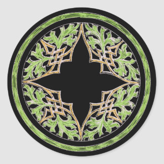 Ornamento marrón y verde reclinado pegatina redonda
