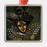 Ornamento Máscara-Verde del damasco del carnaval Ornaments Para Arbol De Navidad