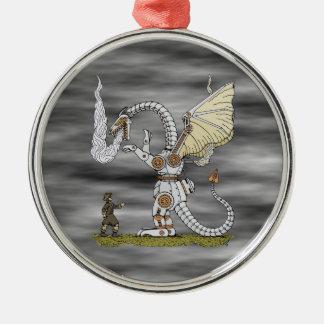 Ornamento mecánico del dragón adorno navideño redondo de metal