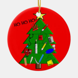 Ornamento médico del navidad de la enfermera adorno navideño redondo de cerámica