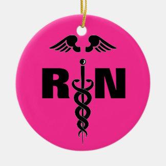 Ornamento médico del RN de la enfermera Adorno Redondo De Cerámica