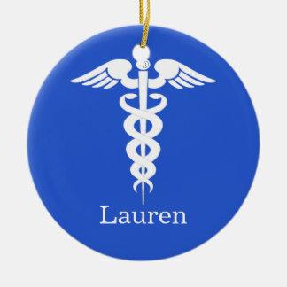 Ornamento médico personalizado adorno navideño redondo de cerámica