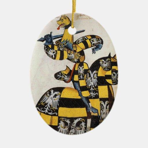 Ornamento medieval del caballero adorno navideño ovalado de cerámica