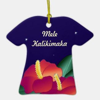 Ornamento Mele Kalikimaka de la camisa del Adorno De Cerámica En Forma De Playera