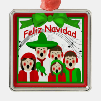 Ornamento mexicano de la familia cinco de los adorno navideño cuadrado de metal