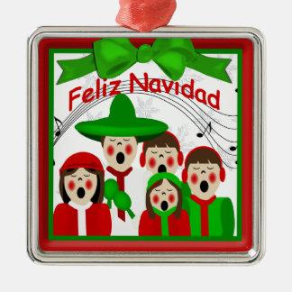 Ornamento mexicano de la familia cinco de los adorno cuadrado plateado