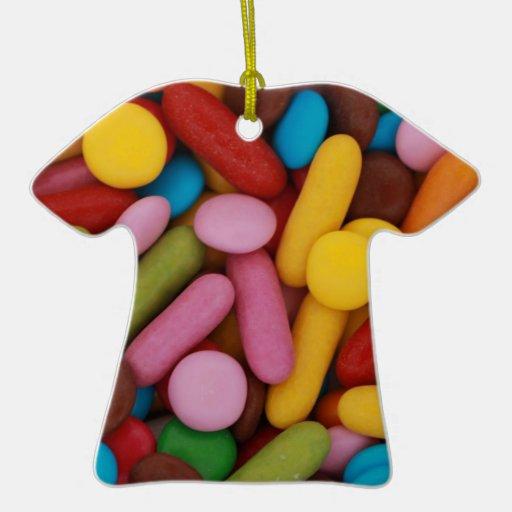 Ornamento mezclado de la camisa de los caramelos adorno de cerámica en forma de playera