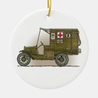 Ornamento militar de la ambulancia del vintage adorno redondo de cerámica