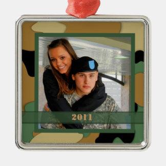 Ornamento militar del recuerdo de la foto adorno navideño cuadrado de metal