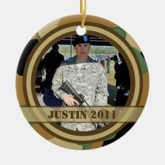 Ornamento militar del recuerdo de la foto adorno navideño redondo de cerámica