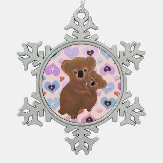 Ornamento mimoso del copo de nieve de los osos de adorno de peltre en forma de copo de nieve