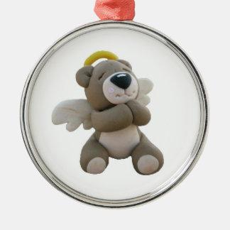 Ornamento místico del oso del ángel de las adorno navideño redondo de metal