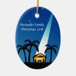 Ornamento moderno azul del navidad de la natividad ornamentos de navidad