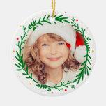 Ornamento moderno de la foto de la guirnalda del adorno navideño redondo de cerámica