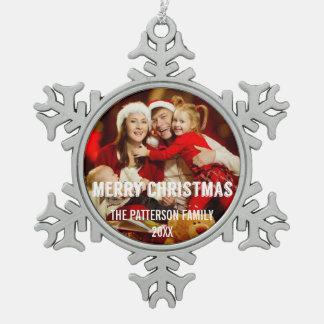 Ornamento moderno festivo de la foto de las adorno de peltre en forma de copo de nieve