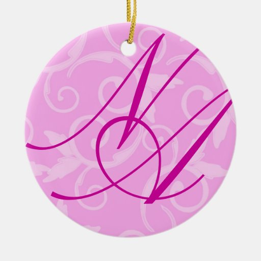 Ornamento - monograma femenino del remolino adornos de navidad