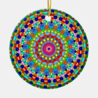 Ornamento multicolor del caleidoscopio del vitral adorno redondo de cerámica