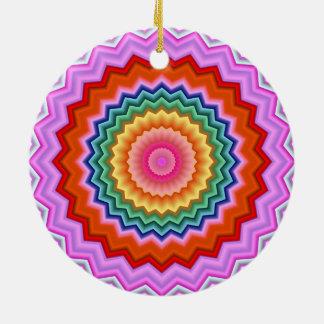 Ornamento multicolor del caleidoscopio del zigzag adorno redondo de cerámica