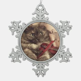 Ornamento musical del copo de nieve del gato por adorno de peltre en forma de copo de nieve